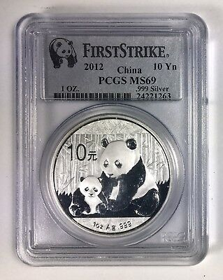 FIRST STRIKE 2012 China S10Y 10 Yuan 1 Oz .999 Silver Panda – PCGS MS 69
