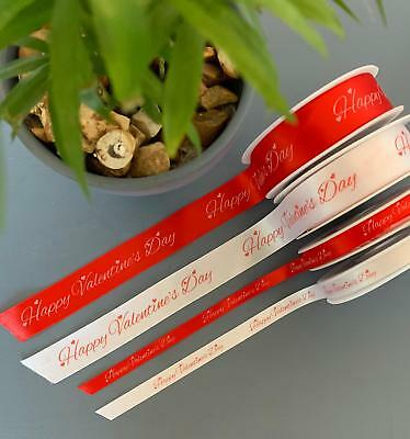 HAPPY VALENTINE'S DAY RIBBON 10mm or 25mm wide red & white - GIFT WRAP/FLORISTRY