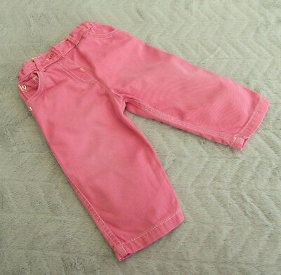 Baby Girls 100% Cotton Pink Trousers (6-9 Months) - By Marks & Spencer