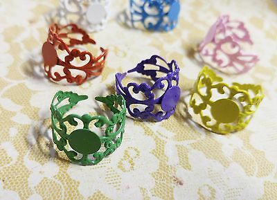 5 Adjustable Ring Blanks Filigree Assorted Lot Blank Rings Brass