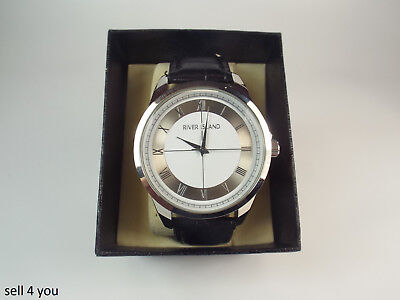 80c36b23b36d Mens River Island Silver Watch Black Leather Strap Chrome Face - BNWT