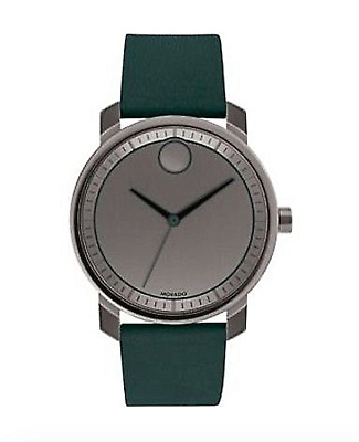 Movado BOLD 3600570 Swiss Green Leather Strap Watch Box & Papers USA Seller
