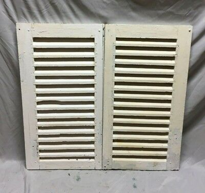Small Pair Antique House Window Wood Louvered Shutters 16X30 Shabby Vtg 114-19C