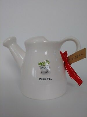 NEW Rae Dunn THRIVE Watering Can Ceramic Red Ribbon and Gift Tag NWT