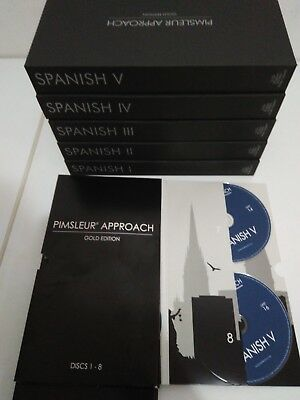 Learn Spanish Pimsleur Level 1-5 Gold Edition Course, 80 CD's Free Shipping