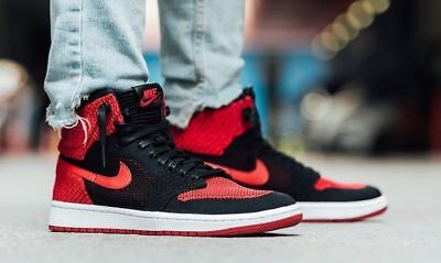 658b12fd03a712 NIKE AIR JORDAN 1 RETRO HIGH FLYKNIT BLACK RED 919704-001 BRED BANNED DS Sz