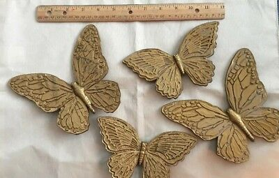Vintage Homco Home Interior Gold Butterfly Wall Plaques Set Four