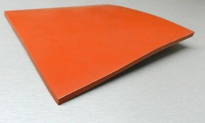 "4"" Square 1/4"" Thick Silicone Rubber Sheet High Temp Solid Red/Orange Grade 4x4"""