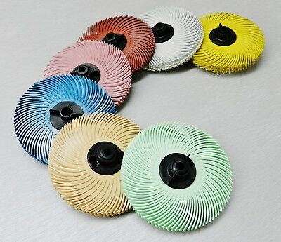 "3M Radial Bristle Disc Brush 3"" Set of ALL 7 Grades 6-PLY with Hubs Assortment"