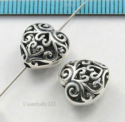 1x BALI STERLING SILVER FLOWER FOCAL HEART SPACER BEAD 11.9mm 11.5mm #3036