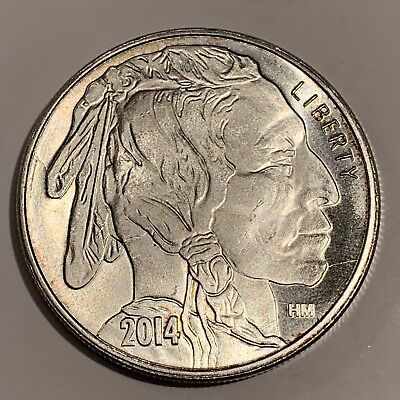 Liberty Indian Head Buffalo 2014 USA Silver 1 troy oz .999 Fine Silver Round HM