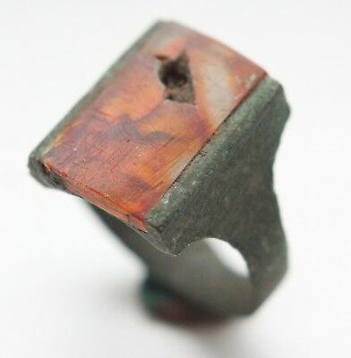 Post Medieval Bronze Finger Ring With Amber Inlay (JAN01)