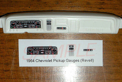 1964 - 1966 CHEVROLET PICKUP and SUBURBAN GAUGE FACES for 1/25 scale REVELL KITS