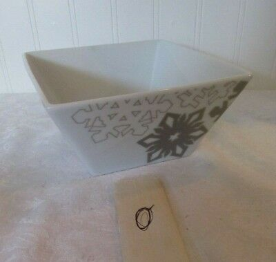 """Food Network Snowflake Collection Square Bowl Porcelain 6 x 3"""""""