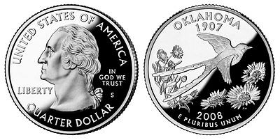 Silver 2008 S Gem Bu Proof Oklahoma State Quarter Uncirculated Coin Pf Us#3442