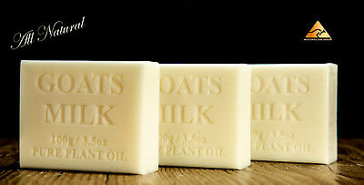 3 pack All Natural, 100 % Australian Made, Goats Milk Soap, 100g bars