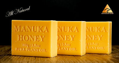 3 pack,  All Natural, 100 % Australian Made, Manuka Honey Soap,  100g bars