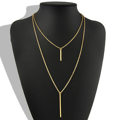 Womens Bohemian Gold Plated Long Sweater Chain Vertical Bar Pendant Necklace New