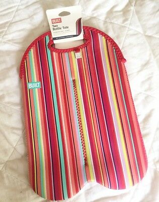 BUILT NY Two Bottle Tote Insulated Bag 10th Anniversary Ltd Ed Stripe