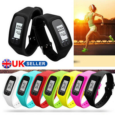 Lcd Pedometer Wrist Watch Bracelet Sport Calorie Step Running Counter Fitness N!