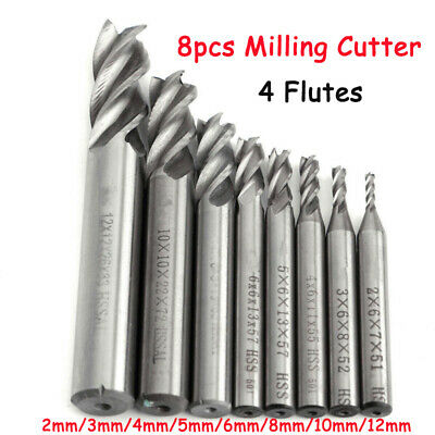 8pcs 4 Flûtes Tungstène Fraise Foret Perceuse En Carbure End Mill Coupe 2-12mm