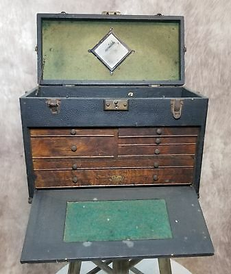Vintage Gerstner & Sons Machinist Tool Box 7 Wooden Drawers Locks Compartment