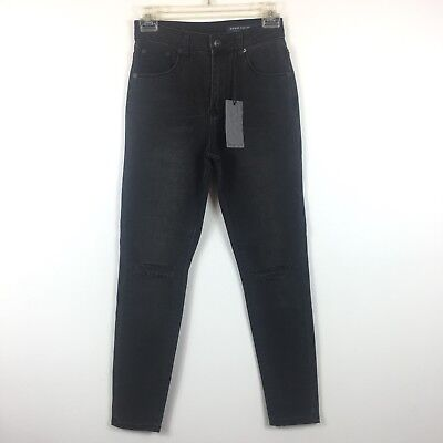 ccaaf85cb2 Denim CoLab Jeans Black Skinny Distressed Style Bells Cropped Size 24 3A15