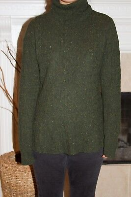 aaafd81501 Autumn Cashmere Women s Long Sleeve Green Turtleneck Long Sweater Size M