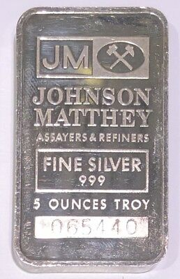 5 oz Johnson Matthey Silver Bar .999 JM Back Vintage Serial 065440