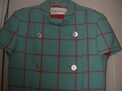 Chester Weinberg couture dress Turquoise and Auburn wool plaid never worn