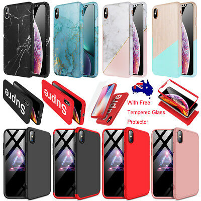 For iPhone XS MAX XR X Marble Full Body Shockproof Case Cover + Tempered Glass