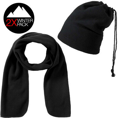 Winter Pack sciarpa + cappello/scaldacollo in pile nero uomo/donna