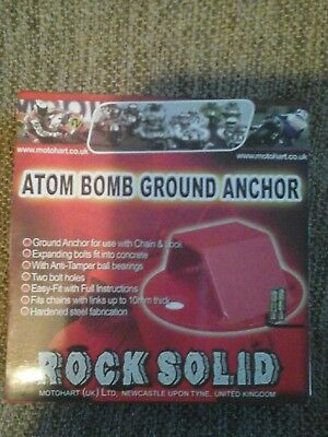 Motohart Motorcycle Bike Scooter Rock Solid Atom Bomb Ground Anchor & Bolts