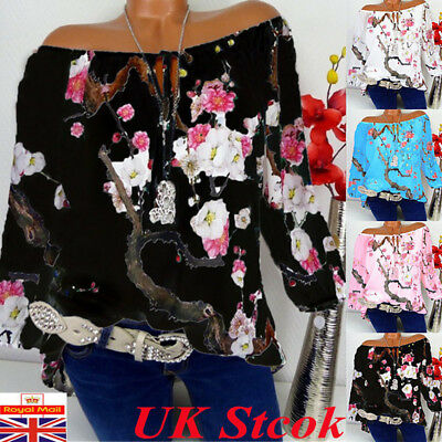 UK Womens Floral Off Shoulder Tops Blouse Ladies Summer Bardot Tunic Shirt Tee