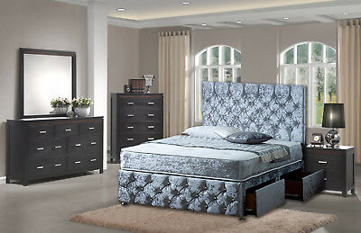 BRAND NEW CHESTERFIELD DIVAN BED SET WITH MATTRESS HEADBOARD 3FT 4FT6 Double 5FT