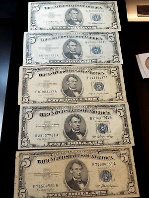 """1953 $5 Silver Certificate """"Blue Seal"""" (Lot of 5) East Coast Coin & Collectables"""