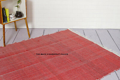 100% Cotton Handmade RED Colour Chindi Area Rag Rugs Mat, LARGE CARPET 4*6 FT