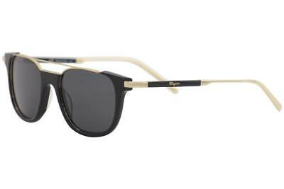af4729321a Salvatore Ferragamo Men s SF160S SF 160 S 017 Black Gold Square Sunglasses  52mm