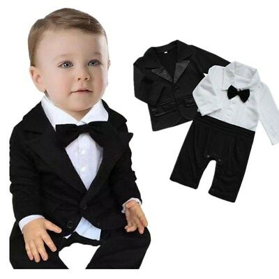 bb7431c2e NEWBORN BABY BOYS Formal Suit Tuxedo Gentleman Romper Coat Outfit ...