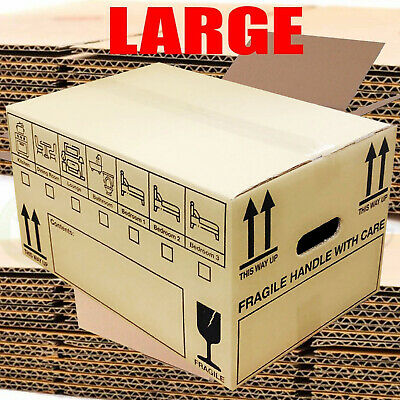 20 LARGE STRONG DOUBLE WALL PRINTED Cardboard House Moving Removal Packing Boxes