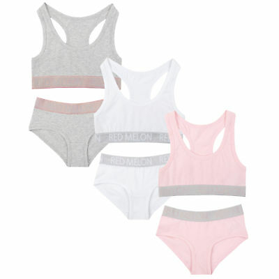Girls Crop Top Training Bra Knicker Brief Set Glitter Non-Padded Cotton 2 Pack