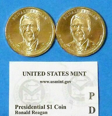 2016 D & P Ronald Reagan US Presidential Coin Set UNCIRCULATED