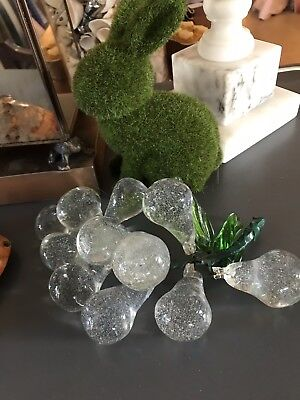Vintage Mid - Century Italian Murano Hand Blown Clear Glass Grapes in Cluster