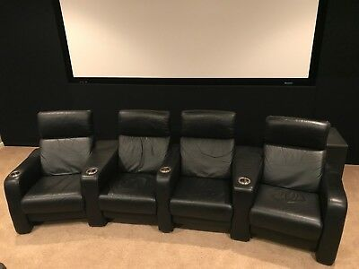 Admirable Cinematech 4 Black Leather Home Theater Chairs Seats Manual Cjindustries Chair Design For Home Cjindustriesco