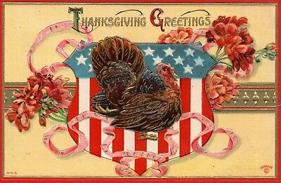 Patriotic American Flag Red and Gold Border Flowers Turkey Thanksgiving Postcard
