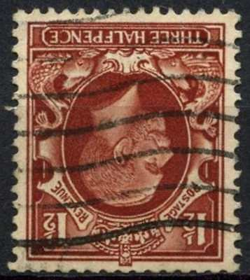GB KGV 1934-6 SG#441wi 1.5d Red Brown Wmk Inverted Used #D82973