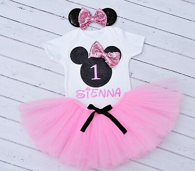Personalised Cake smash Baby Girl First 1st Birthday Minnie Mouse Outfit pink