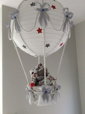 Tatty teddy in a hot air balloon nursery  light shade silver grey