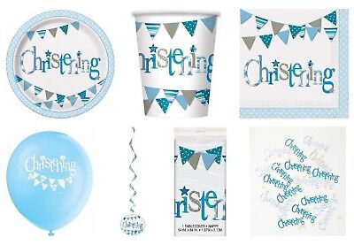 Blue Bunting Christening Boys Party Tableware Napkins Plates Cups Banner Latex