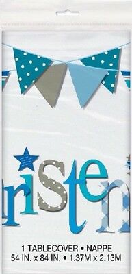 """TABLE COVER BLUE BUNTING CHRISTENING 54""""x 84"""" BOYS PARTY TABLEWARE CELEBRATION"""